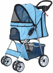 confidence deluxe folding four wheel pet stroller for cats and dogs